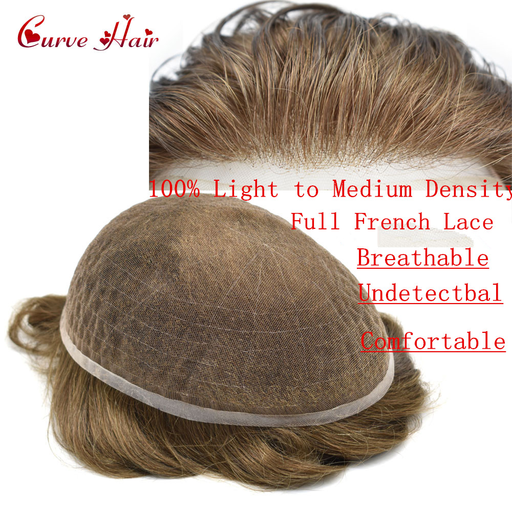 Full Lace Mens Toupee 100% Light To Medium Density Full French Lace Mens Hair Pieces