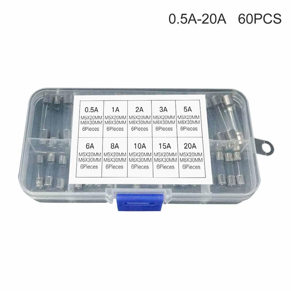 60 piezas de fusible de soplado rápido, fusible de tubo de vidrio, surtido, Kit mixto, tubo de seguro, 5x20mm, 6x30mm 0.5A/1A/2A/3A/5A/6A/8A/10A/15A/20A