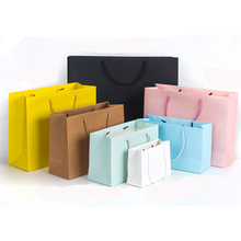 10 pcs Eco-Friendly Kraft Paper Gift Bags With Handles Clothes Shopping Bags Party Favor Cookie Packaging Bags Wholesale