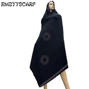 Image 3 - 100% Sciarpa di Cotone Morbido KASHKHA Sciarpa per gli Afro Donne Musulmane Dubai Pregate Grandi Scialli con strass BM828