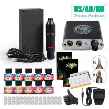 Complete Tattoo Kit Motor Pen Machine USA Color inks Power Supply Set Needles Supplies