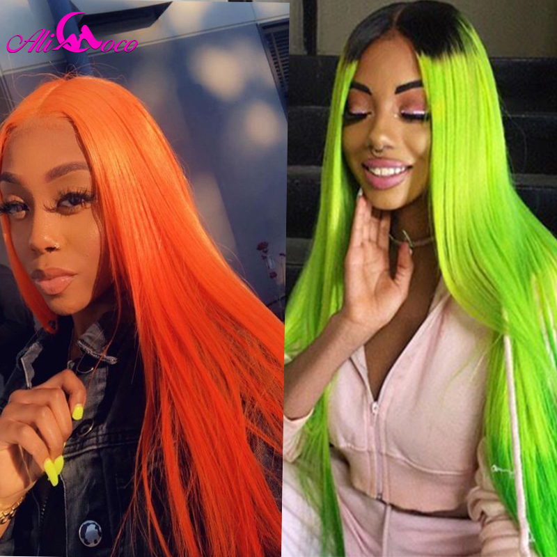Ali Coco Orange Lace Front Wigs Straight Hair Ombre Wig 8-26 Inch Brazilian Green Red Yellow Blue Lace Front Human Hair Wigs