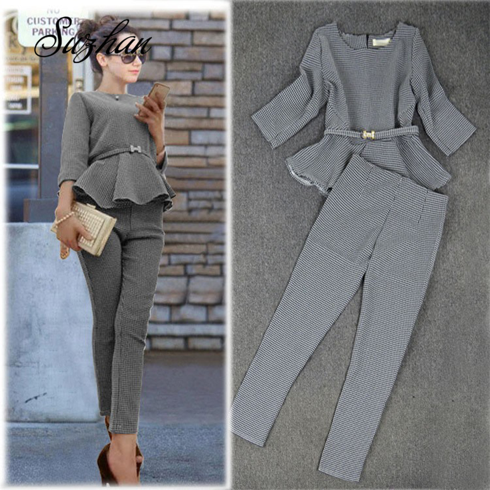 Suzhan Spring Autumn Fashion Women's Business Pants Suits Pattern Ruffles Suits for Women 2 Pieces Set Work Office Lady Suit image