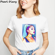Ariana Grande Abstract Drawing Print tshirt Women Aesthetic Clothes Hip Hop Streetwear Top Short Sleeve Kpops T-Shirts Plus Size(China)