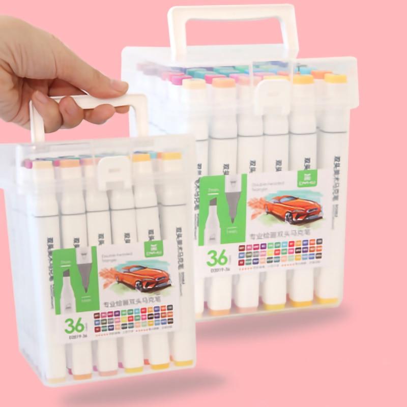 Double-Headed Superior Mark Pen Set Art Supplies Colorful Waterproof Pen Brush Pen Drawing Markers Colorful Waterproof Pen