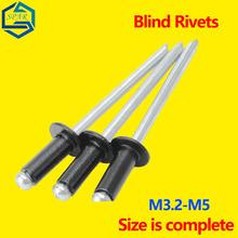 Czarne nity aluminiowe otwarta końcówka nity zrywalne nity zrywalne nity zrywalne nity aluminiowe nity ściągające M3 2x16mm-M5x6 4mm GB tanie tanio CN (pochodzenie) Metalworking NONE Ze Stopu Aluminium Blind Rivets