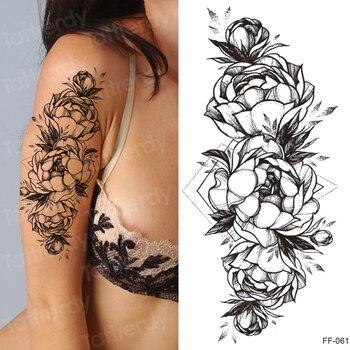 tattoo sticker women flower rose peony black tatouage temporaire femme temporary sleeve tattoo waterproof sexy body art fashion 6