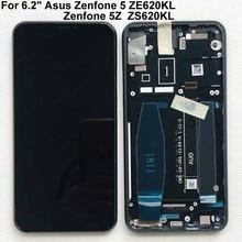 "Tela lcd de 6.2 ""asus zenfone 5 2018, tela original para gamme ze620kl + painel de toque digitador para zenfone 5z zs620kl x00qd + moldura"