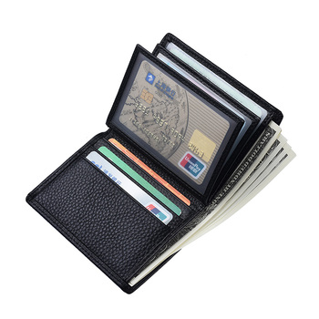 New men's short wallet first layer cowhide vertical wallets leather driving license bag card set - discount item  46% OFF Wallets & Holders