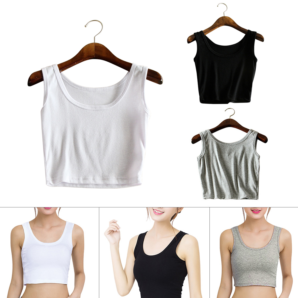 Women Yoga Sleeveless Cotton t shirt Crop Top Summer Slim Solid Sexy Vest Tank Tops Crop white/gray/black Fitness Activewear
