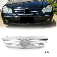 Front Bumper Grille Mesh Grill For Mercedes Benz C Class W203 C280 C320 C240 C200 2000 2006 SIilver Car Accessories w/ Emblem