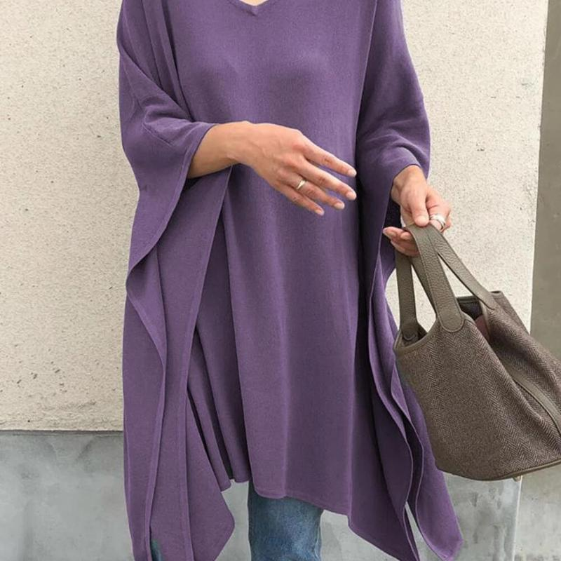 2020 Spring Women's Blouses Irregular Loose Blouse Bat Sleeve Blouse Large Size Solid Color Tops Shirt