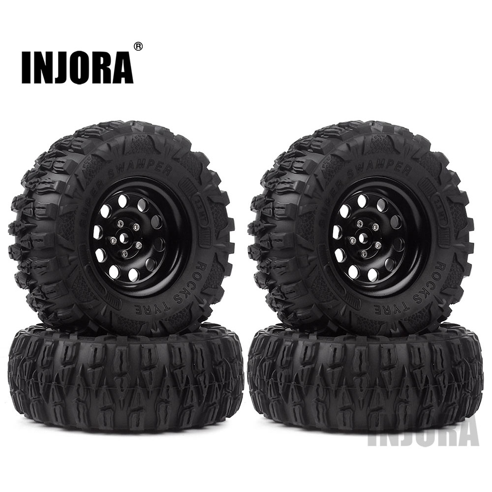 INJORA 4PCS 2.2 Wheel Tires & Metal Beadlock 10 Spoke Wheel Rim For 1/10 RC Rock Crawler Axial SCX10 90046 Traxxas TRX-4