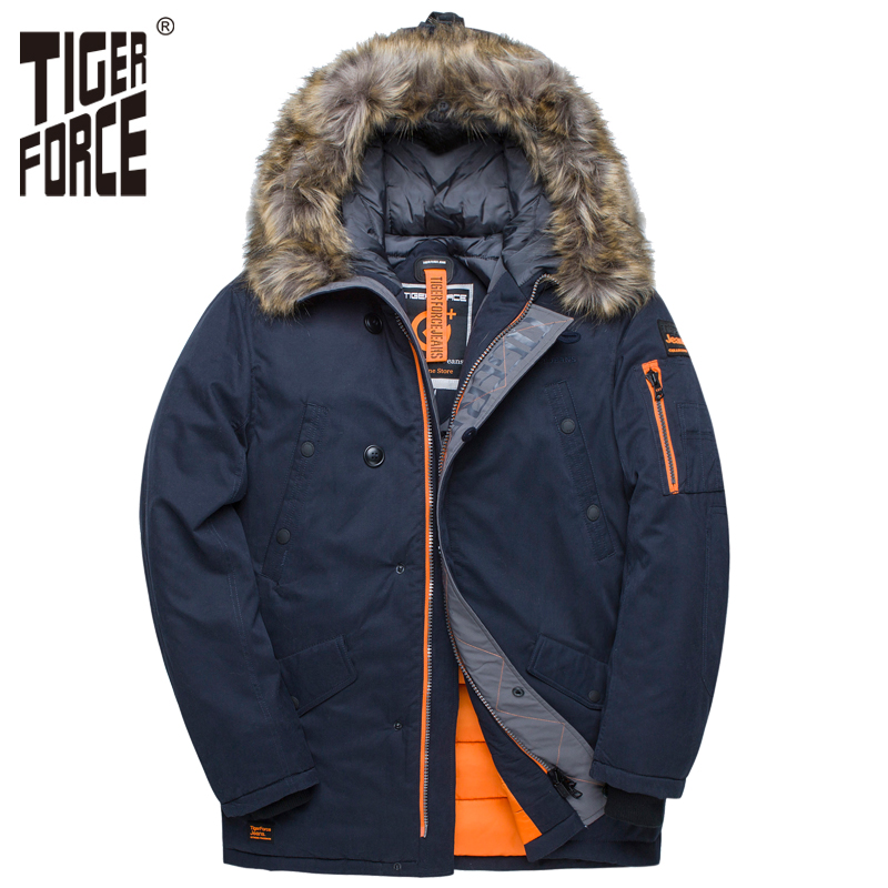 Tigre força jaqueta de inverno masculino acolchoado parka rússia homem casaco de inverno pele artificial grandes bolsos de comprimento médio grosso parkas snowjacket