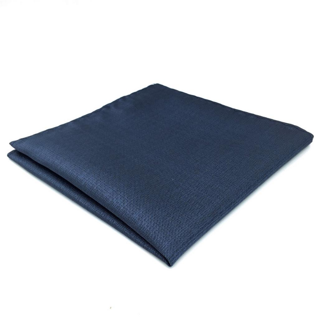 DH20 Navy Solid Mens Pocket Square Silk Dress Classic Handkerchief Wedding Fashion Hanky 12.6