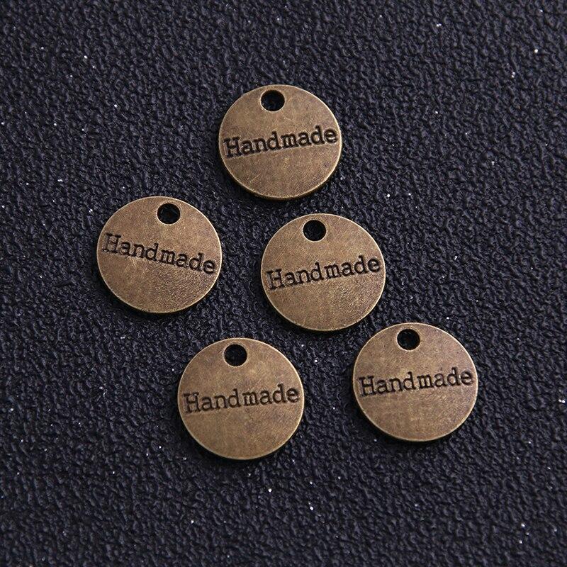 30 шт., металлическая фурнитура для украшений, бирки для украшений из античной бронзы 14 мм, подвески для букв ручной работы