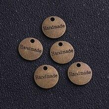 Achados de joias da moda, 30 peças, tags de metal para jóias, liga de bronze antigo, 14mm, feito à mão, placa, encantos de letras
