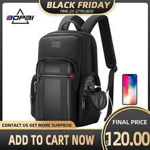 BOPAI mochila antirrobo para hombre, morral de negocios con USB para ordenador portátil de 15,6 pulgadas, mochila negra, mochila escolar transpirable