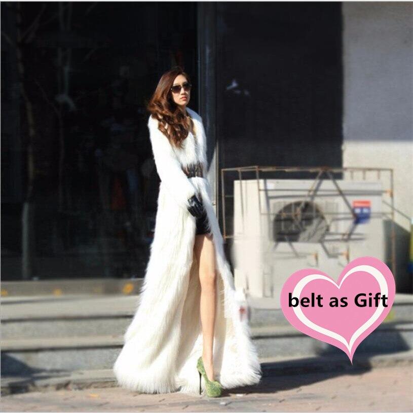 Lady élégant blanc sur longue fausse fourrure manteau femmes de luxe dominateur manteau élégant reine fausse fourrure de renard veste femmes solide longue fourrure