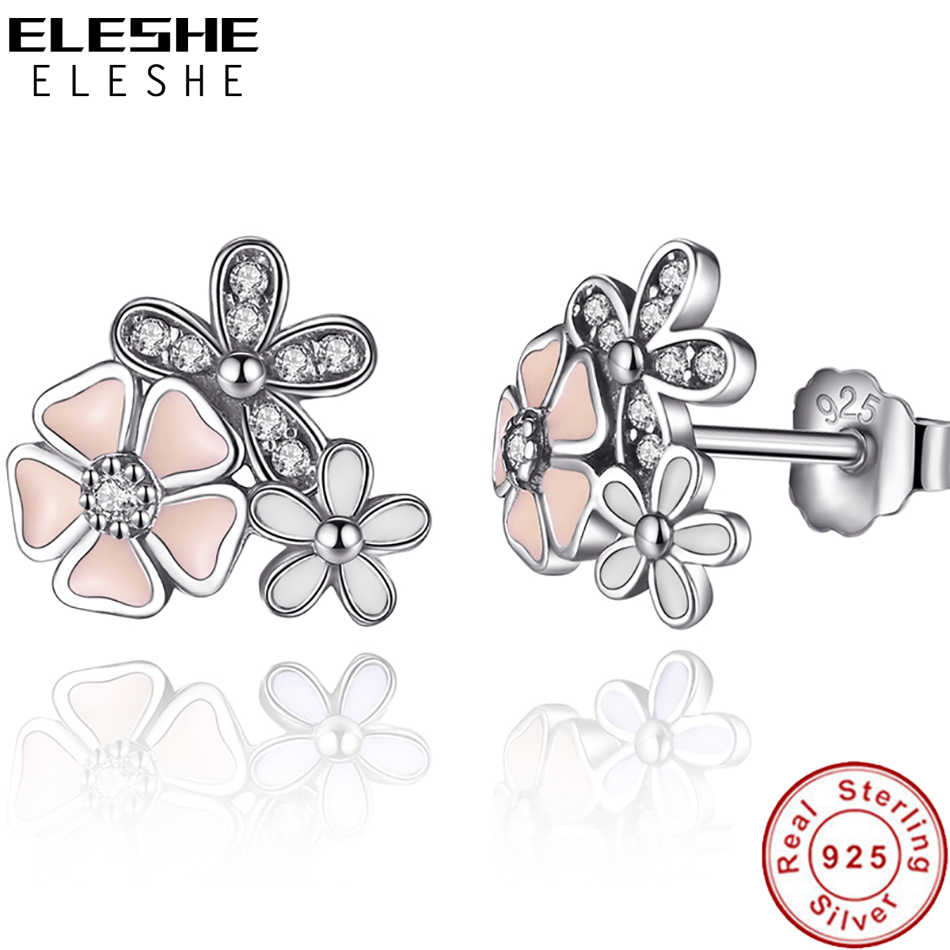 Authentic 100% 925 Sterling Silver Earrings for Women Pink Enamel Poetic Daisy Cherry Blossom Stud Earring Fashion Jewelry Gift