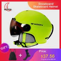 Capacete de esqui com óculos lua 2019 integrado cobertura completa protetor para mulheres esqui snowboard capacete casque de esqui a43