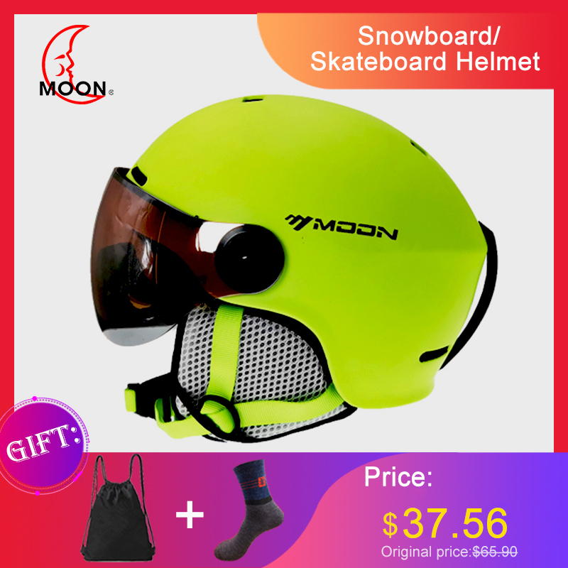 Ski Helmet With Goggles MOON  2019 Integrated Full Coverage Protector For Women Ski  Snowboard Helmet  Casque De Ski A43