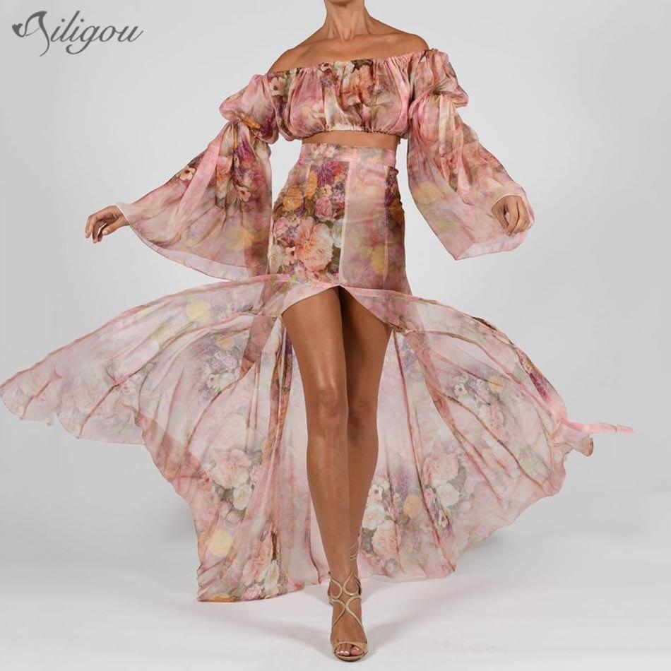 Ailigou Summer Sexy Print Two-Piece Women'S Off-Shoulder Long Lantern Sleeve Crop Top High Open Long Skirt Fashion Party Suit