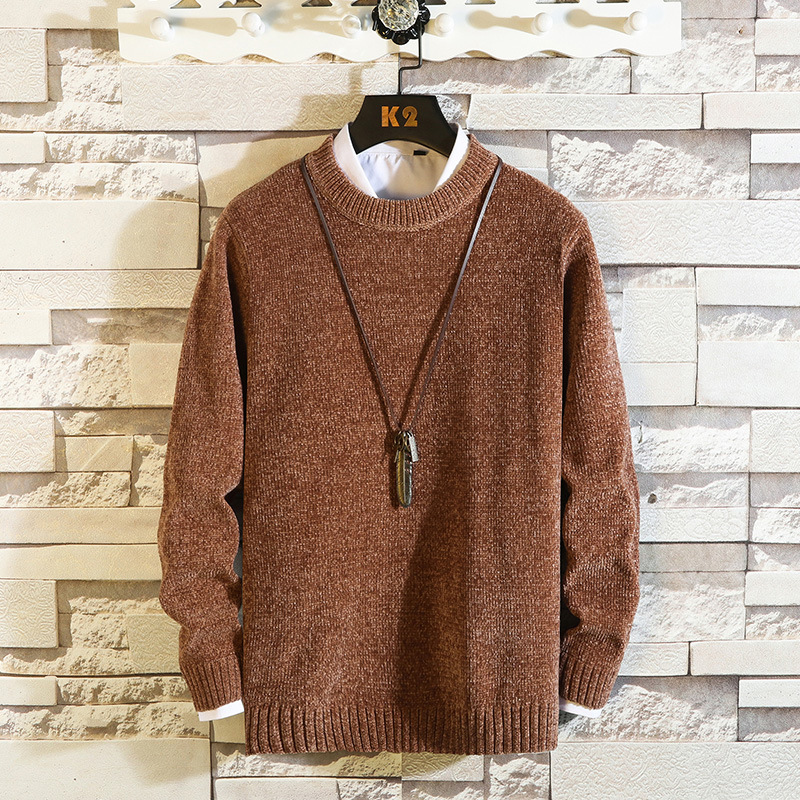 2019 Autumn New Style Men's O Neck Crew Neck Pullover Sweater Korean-style Solid Color Loose Casual Thick Sweater Men's Cotton K