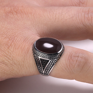 Image 3 - Real Pure Mens Rings Silver s925 Retro Vintage Big Turkish Rings For Men With Color Stones Turkish Jewellery Anel Masculino