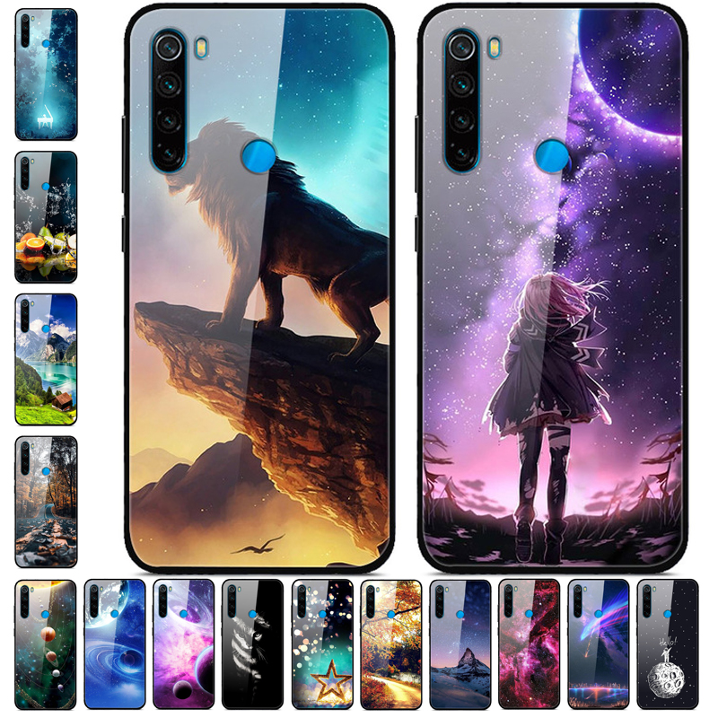 For Xiaomi Redmi Note 8T Case Tempered Glass hard Phone case For Xiaomi Redmi Note 8T Back Cover Redmi Note8T 8 T Bumper Luxury(China)