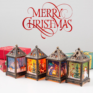 2020 New Christmas Decorations For Home Snowman Santa Claus Night Light Retro Lantern Christmas Decoration Desktop Decor Light