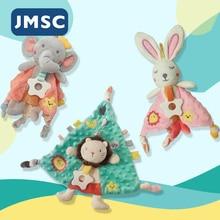 JMSC Baby Newborn Soothe Appease Towel Multifunction Soft Plush Cartoon Comforting Animal Toy Bibs Calm Doll Stuff Plush Rattles