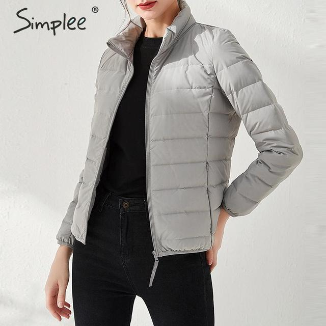 Simplee Casual women down jacket Streetwear solid stand collar zipper padded coat Ladies chic striped plus size winter jacket