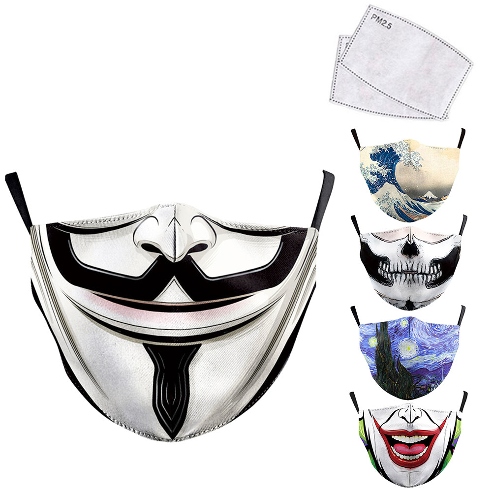 V Word Vendetta Painting Mouth Mask Reusable Protective PM2.5 Filter Paper Mask Anti Dust Face Mask Bacteria Windproof Flu Masks