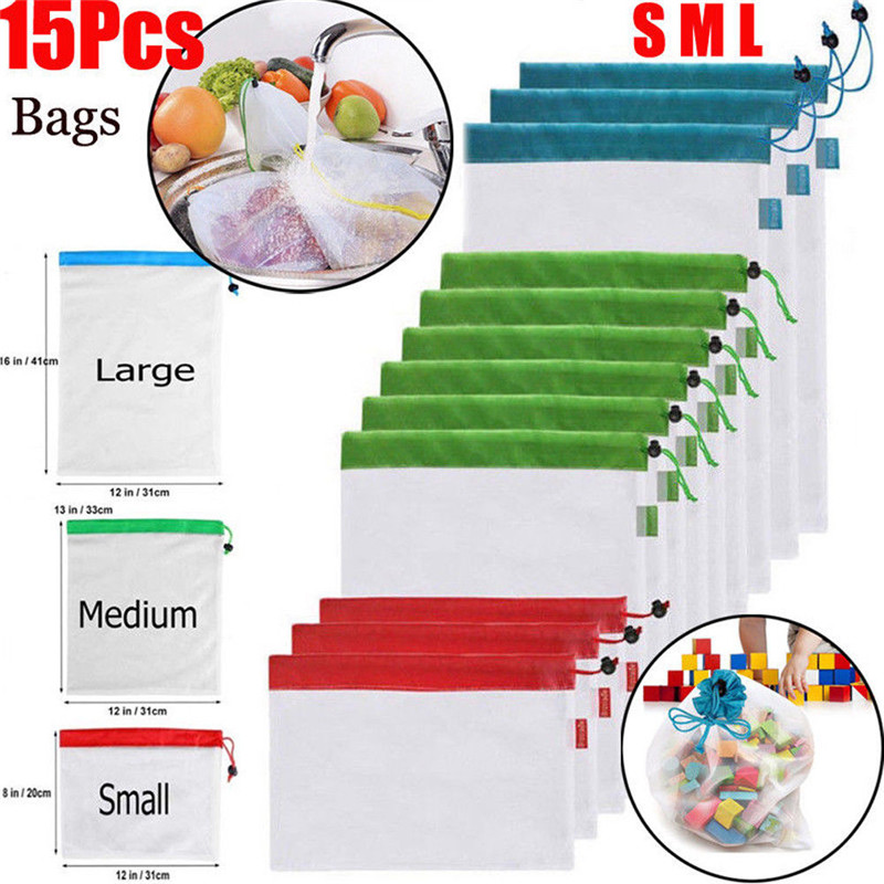 15 Pack Reusable Produce Bags Black Rope Mesh Vegetable Fruit Toys Storage Pouch Handbags