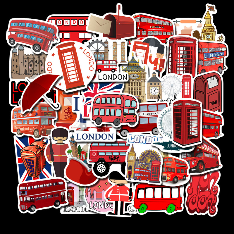 50 Pcs/Lot Waterproof London Red Bus Telephone Booth PVC Stickers For Laptop Motorcycle Skateboard Luggage Decal Toy Sticker(China)