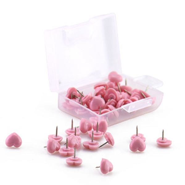 Heart Shape 50pcs Plastic Quality Cork Board Safety Colored Push Pins Thumbtack Office School Accessories Supplies Pink