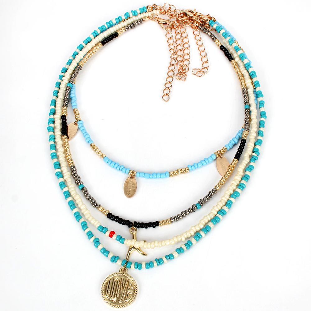 Multilayer Fashion Bohemian Ethnic Style Handmade Seed Bead Starfish Love Pendant Necklace New Women Jewelry Bijoux Gift