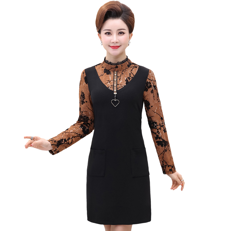 Women Elegant Fake 2PCS Dresses Black Red Caramale Patchwork Floral Lace Turtleneck Samrt Casual Straight Dress For Woman New