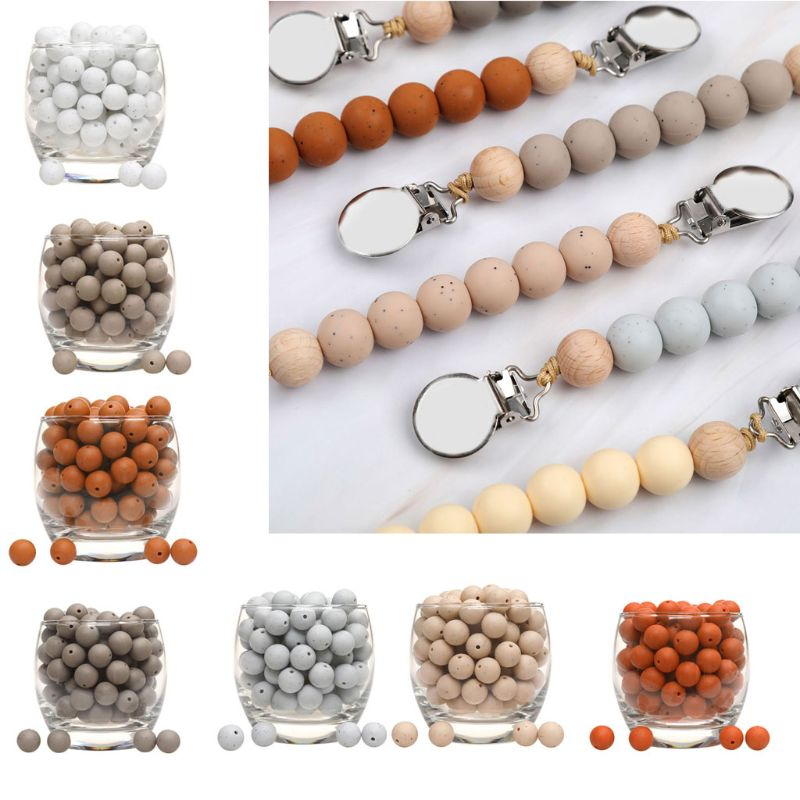 20pcs Silicone Loose Beads Teething Beads DIY Chewable Teether For Infant Baby 95AE