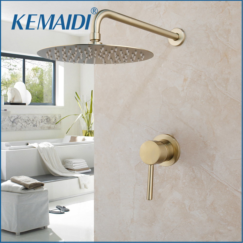 KEMAIDI Luxury Brushed Gold Shower Faucet Set Wall Mount 8