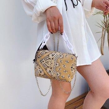 Women Vintage Pattern Canvas Handbag Ladies Design Casual Chain Shoulder Bags Small Tote Bag 2020 New Women's Crossbody Bag casual women s tote bag with leopard print and canvas design