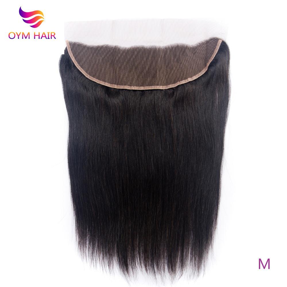 OYM HAIR 13x4 Straight Lace Frontal Closure Brazilian Hair Weaving Natural Color 8-20 Inch Middle Ratio Non-Remy 100% Human Hair