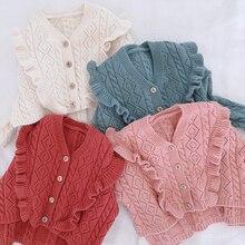 Свитер с оборками и v-образным вырезом для девочек; коллекция года; сезон осень-зима; кардиган для маленьких девочек; свитера; детская верхняя одежда с вырезами; пальто