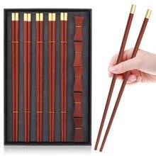 VIP Boutique Gift Box 5 Pairs Red Sandalwood Chopsticks 5PCS Chopstick Rest Solid Wood Pure Copper