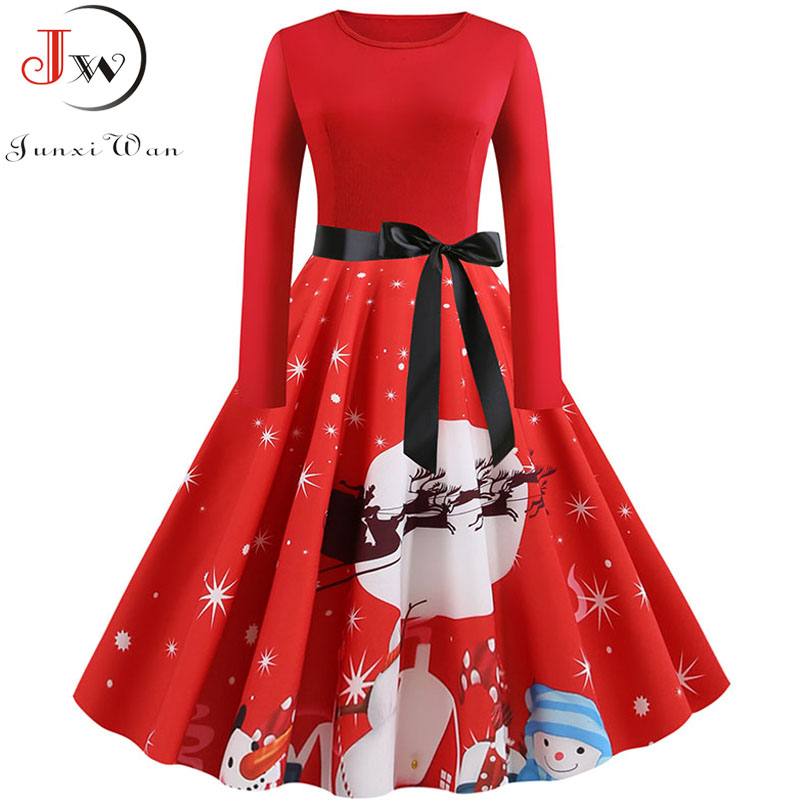 Plus Size S~5XL Print Long Sleeve Christmas Dress Women Autumn Winter Elegant Casual Vintage Pin Up Party Dresses Robe Vestidos