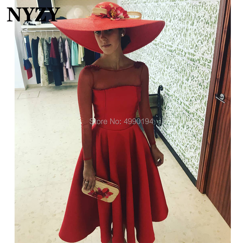 Satin Long Sleeves Knee Length Red Cocktail Dresses NYZY C210 Formal Dress Party Evening Graduation Homecoming 2019