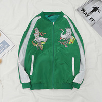 High School Students Coat Male STUDENT'S Spring And Autumn College Style Embroidered Crane INS Harajuku Wind BF South Korea Ulzz