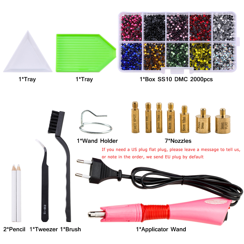 Hot Sale New Set 2000pcs Hot fix Rhinestones EU or US PLUG Hotfix Applicator&7 Tips Crystal Glass Rhinestone Iron-on Wand Strass 3