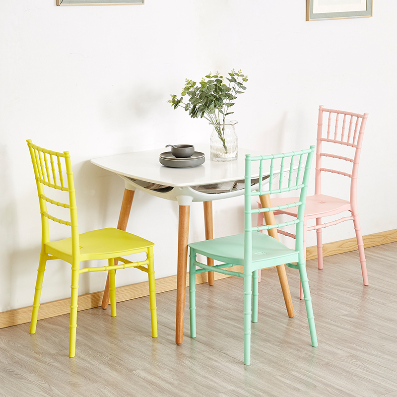 Nordic INS bamboo plastic restaurant dining chair restaurant office plastic chair home bedroom learning bamboo plastic chair in Dining Chairs from Furniture